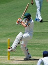 A nimble Jake Doran kicks the ball away from his stumps, Cricket Australia XI v Indians, 1st day, Tour match, Adelaide