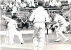 Peter Walker in typical pose, fielding close to the bat against the Australians at Swansea in 1968
