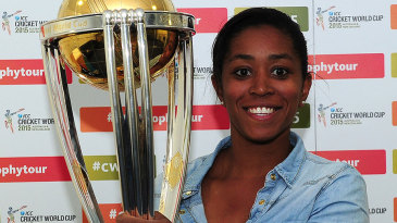 Ebony Rainford-Brent poses with the World Cup