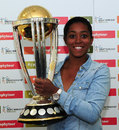 Ebony Rainford-Brent poses with the World Cup, Brimingham, August 23, 2014