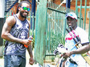 Chris Gayle and Chadwick Walton at West Indies' training session, Johannesburg, December 5, 2014