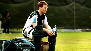 Eoin Morgan waits for a hit in the nets