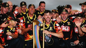 Wellington Firebirds with the Georgie Pie Super Smash trophy