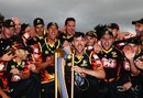 Wellington Firebirds with the Georgie Pie Super Smash trophy, Auckland v Wellington, Georgie Pie Super Smash final, Hamilton, December 7, 2014