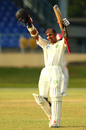 Vishaul Singh celebrates his maiden first-class hundred, Trinidad & Tobago v Guyana, WI Professional League, 2nd day, Port of Spain, December 6, 2014