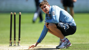 Sean Abbott has a look at the pitch at New South Wales' training session
