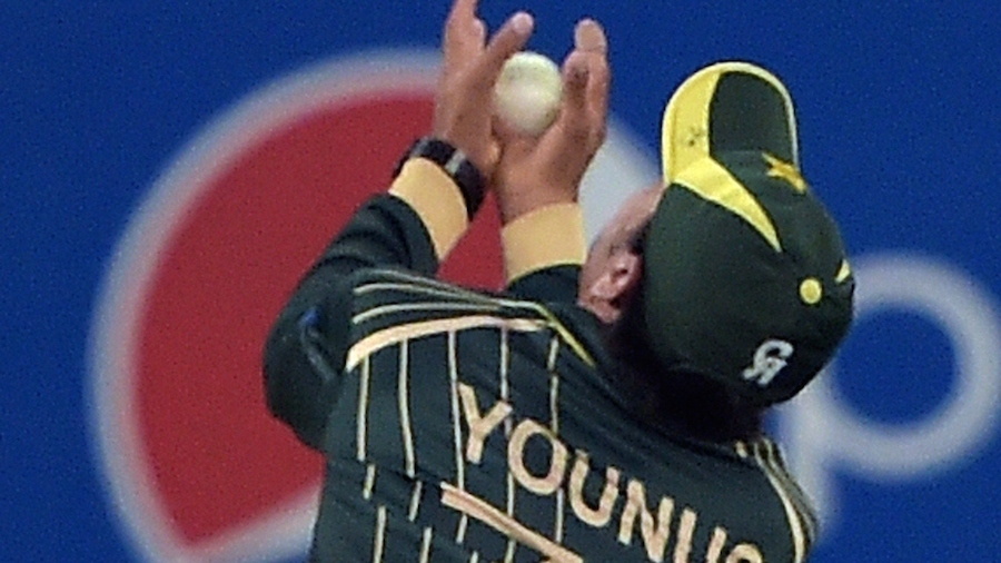 Younis Khan covered a lot of ground to take a good catch