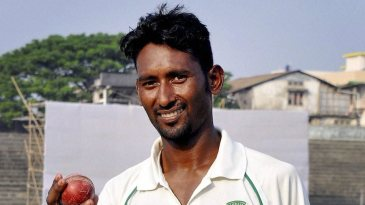 Krishna Das is all smiles after taking seven wickets