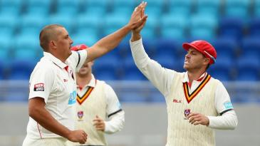 Trent Lawford celebrates a wicket
