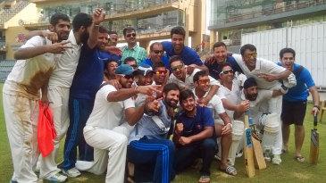 The Jammu & Kashmir team celebrate after their win over Mumbai