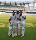 Hardeep Singh, Samiullah Beigh and Ram Dayal after the win, Mumbai v Jammu & Kashmir, Ranji Trophy 2014-15, Group A, Mumbai, 4th day, December 10, 2014