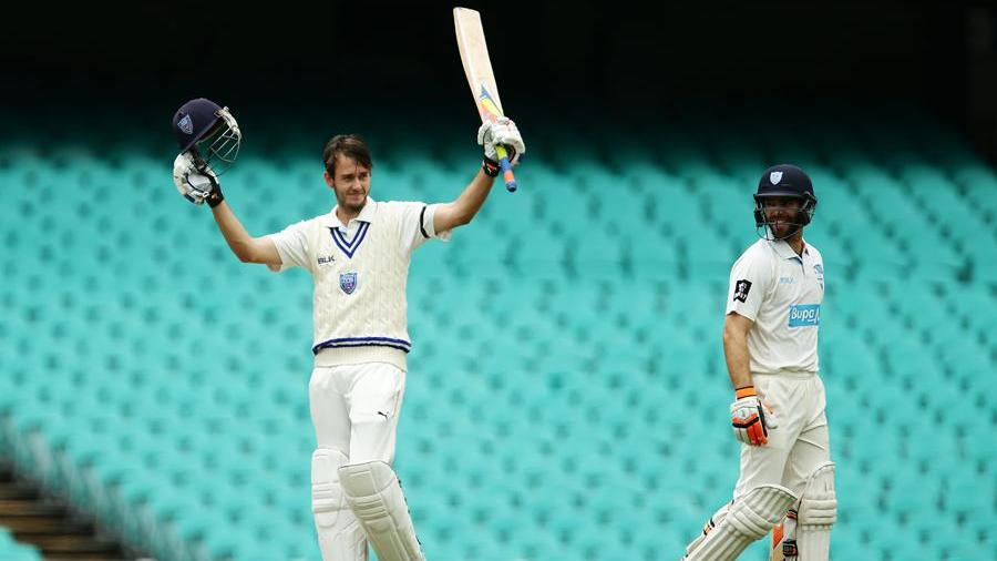 Kurtis Patterson celebrates his second first-class hundred
