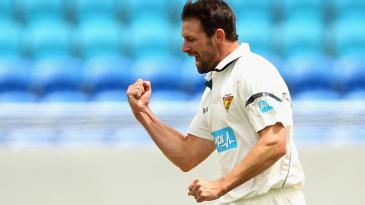 Ben Hilfenhaus celebrates a wicket