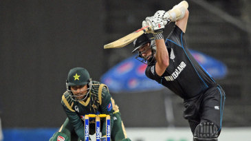 Kane Williamson drives during his innings of 46
