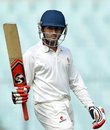 Shreyas Gopal celebrates his maiden first-class hundred, Bengal v Karnataka, Ranji Trophy, Group A, 2nd day, Kolkata, December 15, 2014