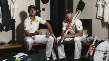 Mitchell and Shaun Marsh at a photo shoot
