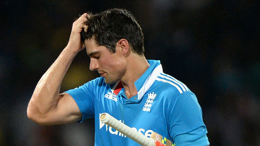 After several near-misses Alastair Cook fell for 32