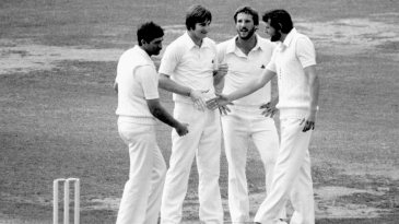 Mike Hendricks, Ian Botham and Graham Gooch congratulate Chris Old