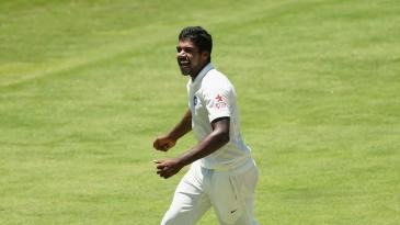 Varun Aaron celebrates Brad Haddin's wicket