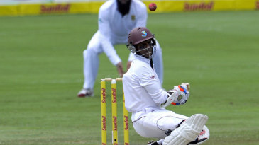 Shivnarine Chanderpaul ducks under a bouncer