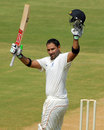 Devendra Bundela raises his bat after scoring his 24th first-class century, Tamil Nadu v Madhya Pradesh, Ranji Trophy, Group A, Chennai, 2nd day, December 22, 2014