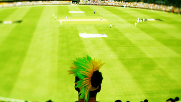 A fan watches the proceedings at the Gabba