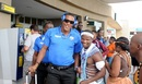 Sheldon Cottrell and the West Indies team get a warm welcome at Port Elizabeth airport, Port Elizabeth, December 22, 2014