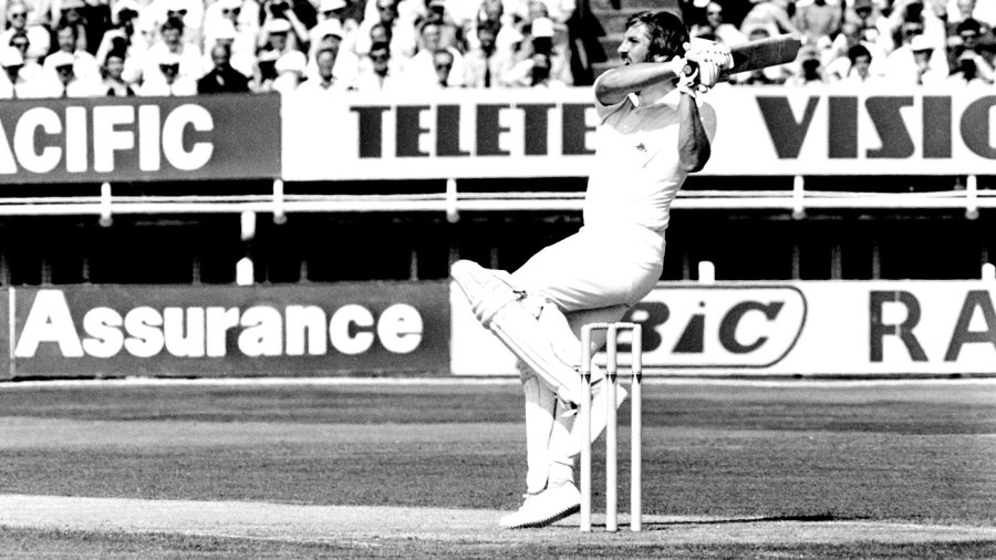 Ian Botham hooks Rodney Hogg for a boundary