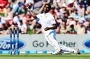 Shaminda Eranga lost his footing while attempting his first ball of the match, New Zealand v Sri Lanka, 1st Test, Christchurch, 1st day, 26 December, 2014