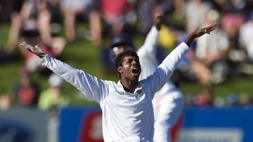 Debutant Tharindu Kaushal appeals for a wicket
