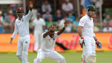 Kenroy Peters appeals for a wicket