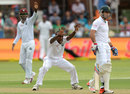 Kenroy Peters appeals for a wicket, South Africa v West Indies, 2nd Test, Port Elizabeth, 1st day, December 26, 2014
