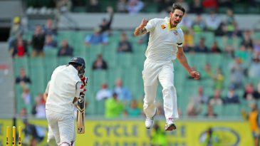 Mitchell Johnson produced a stunning delivery to bowl Cheteshwar Pujara
