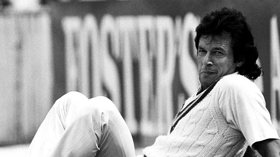 Imran Khan relaxes in the outfield