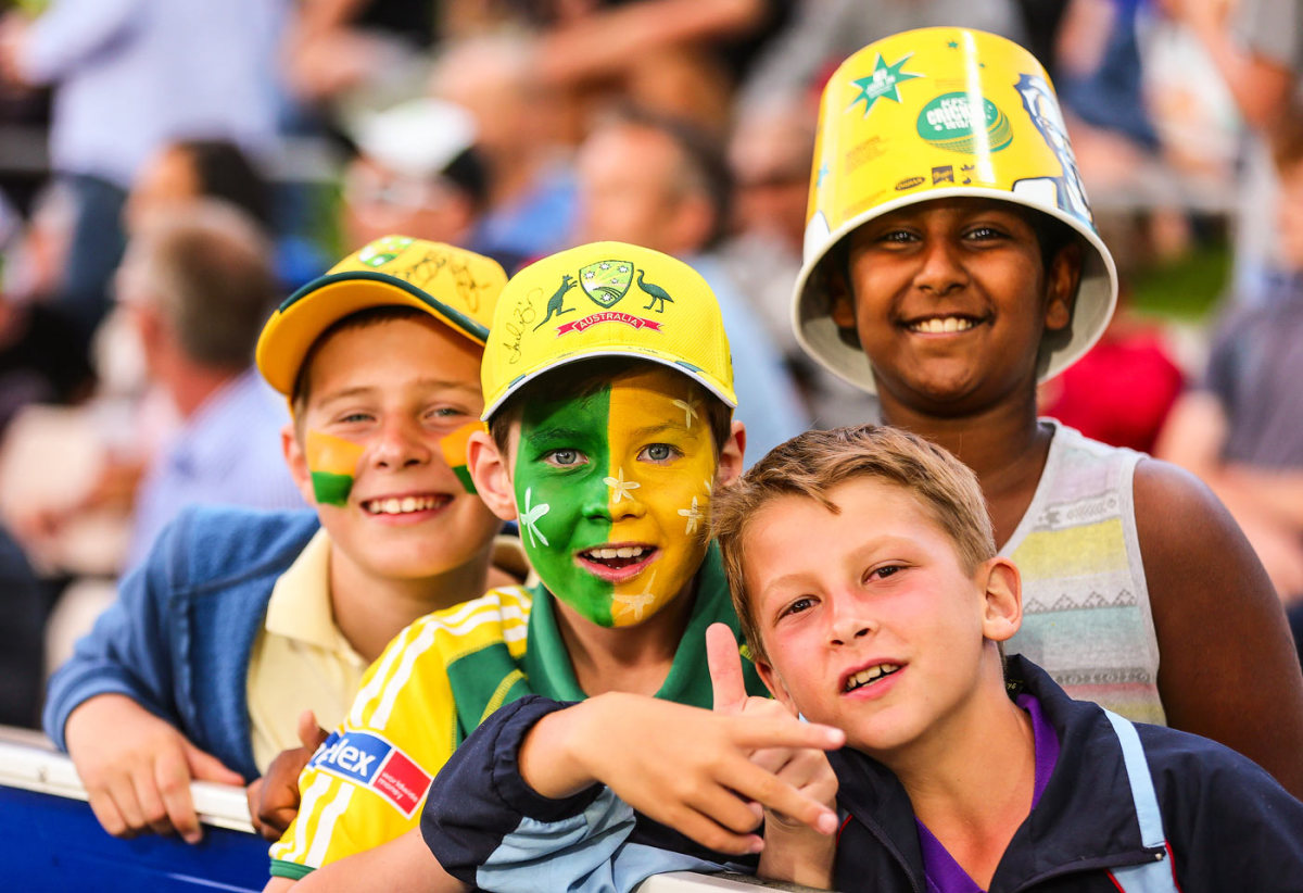 Young fans enjoy the game