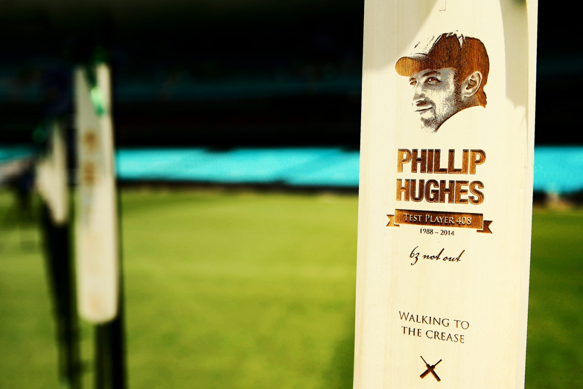 Sixty-three bats are displayed at the SCG in remembrance of Phillip Hughes