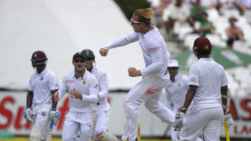 Simon Harmer picked up his maiden Test wicket with the last ball before lunch