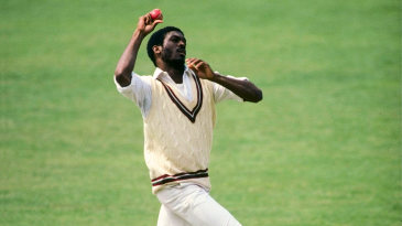 Michael Holding bowls against Middlesex