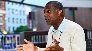 Michael Holding talks during an interview with ESPNcricinfo