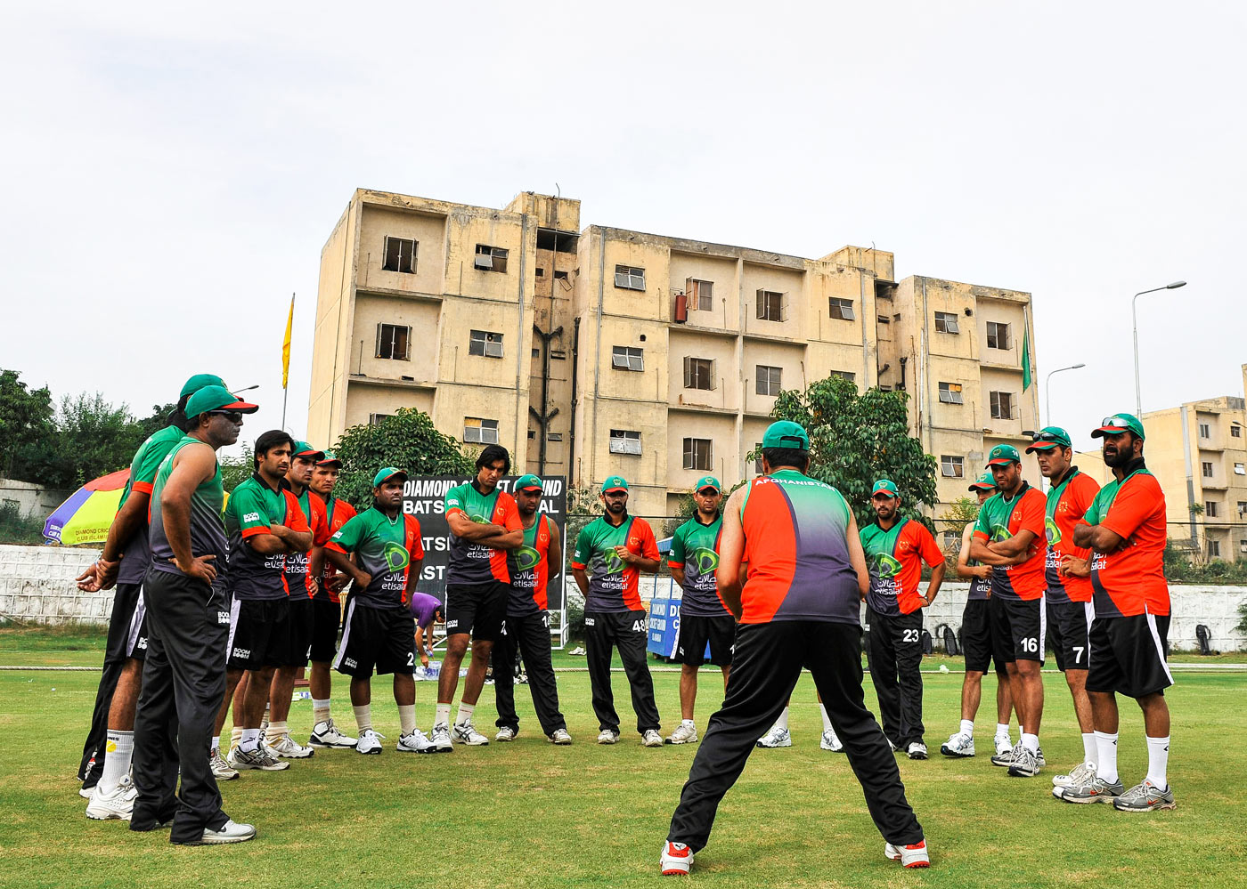 The Afghanistan side train in Islamabad in 2011, when they became the first international side to tour Pakistan after the attack on the Sri Lankan team in 2009