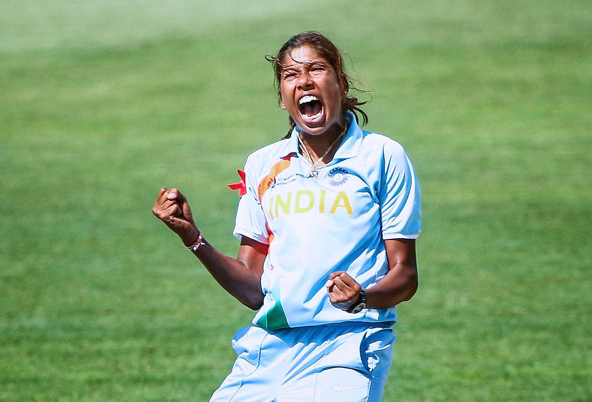 Jhulan Goswami celebrates a wicket