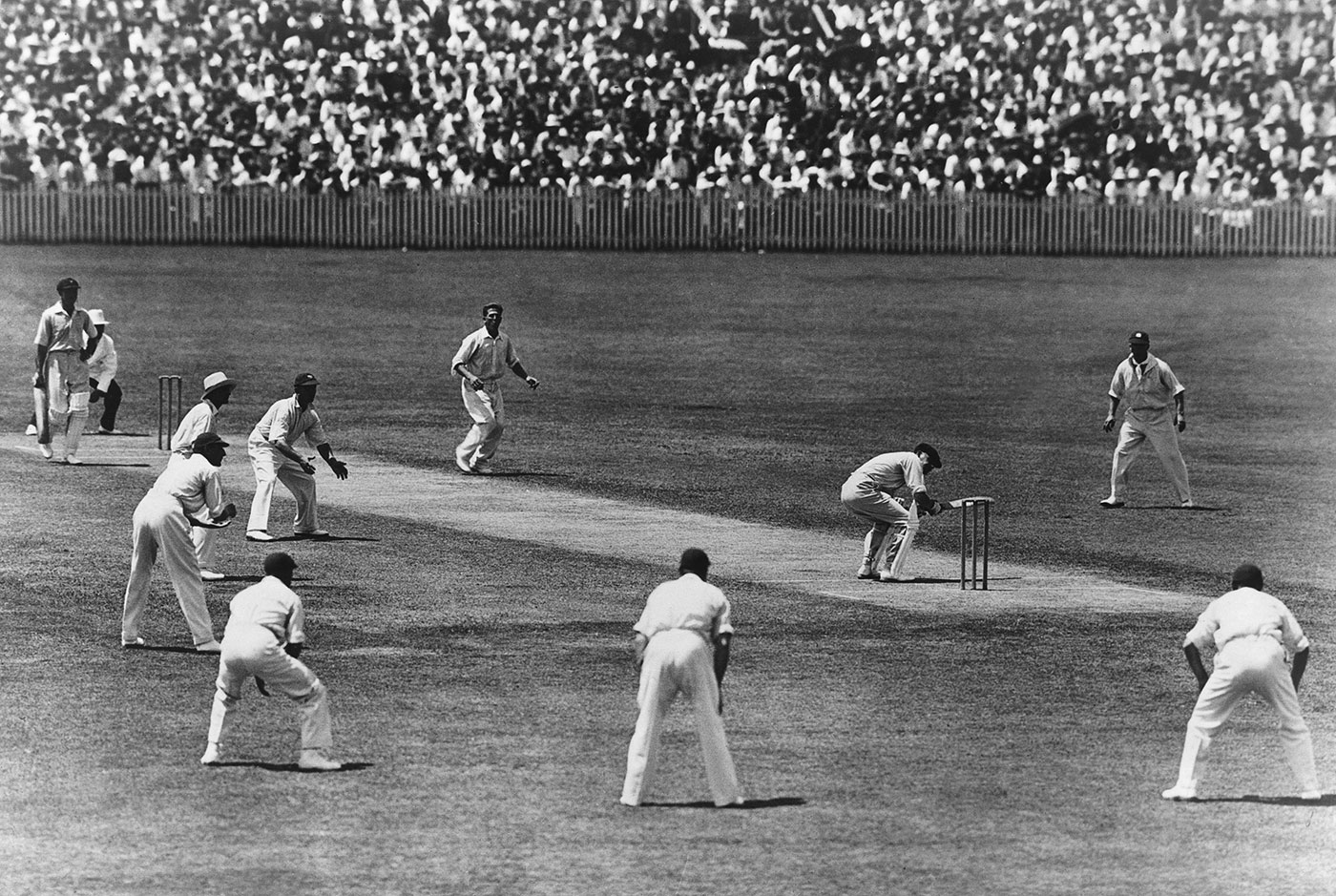 Bill Woodfull ducks a ball from Harold Larwood in a classic image from the Bodyline series, Australia v England, 3rd Test, Adelaide, January 16, 1933