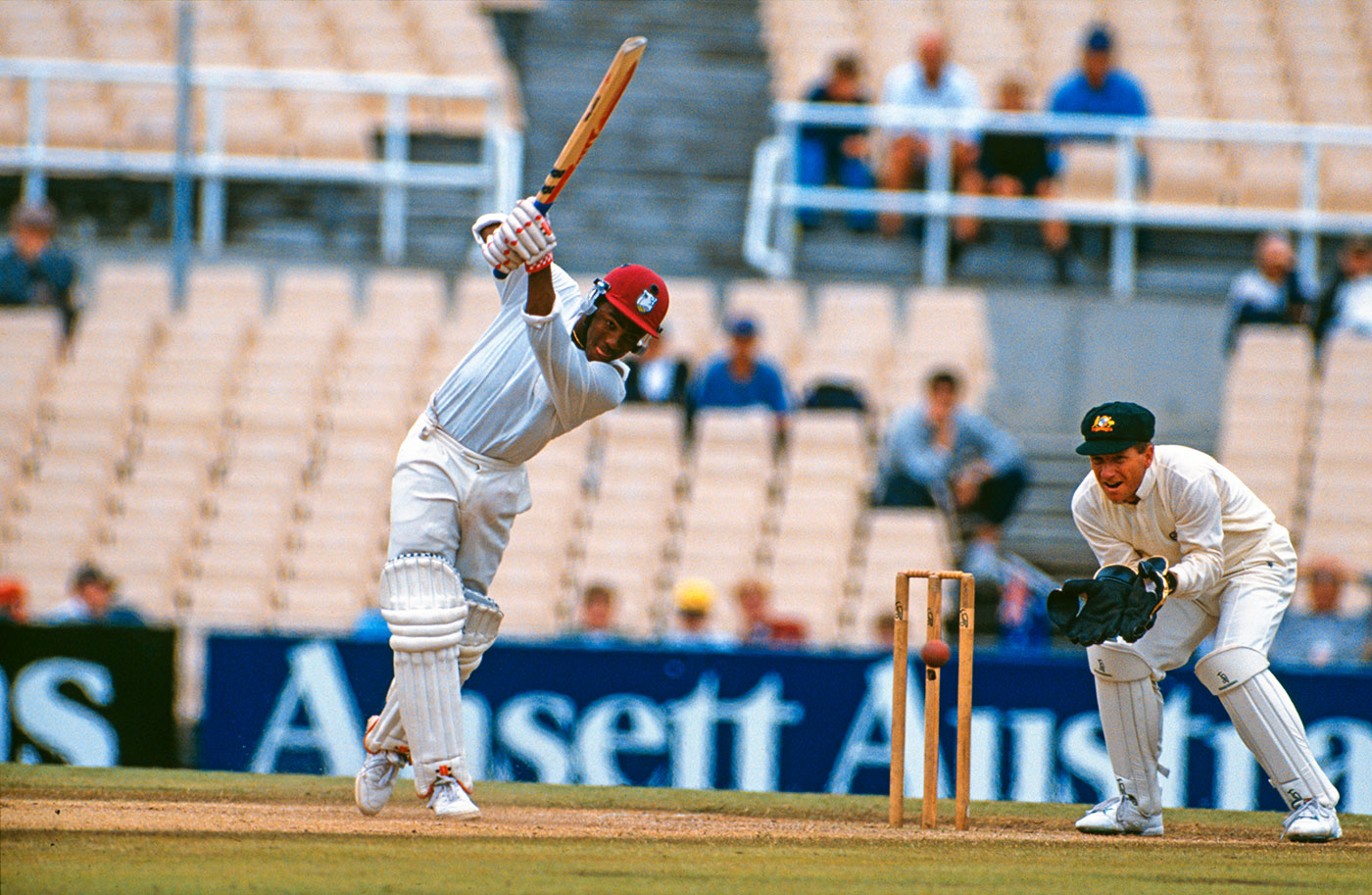 Brian Lara drives during his 277, Australia v West Indies, 3rd Test, Sydney, January 4, 1993