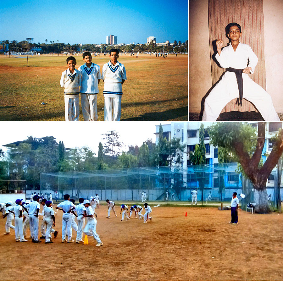 Scenes from a childhood: with his cricket-playing mates, in karate gear, the SV Joshi school ground (clockwise from top left)