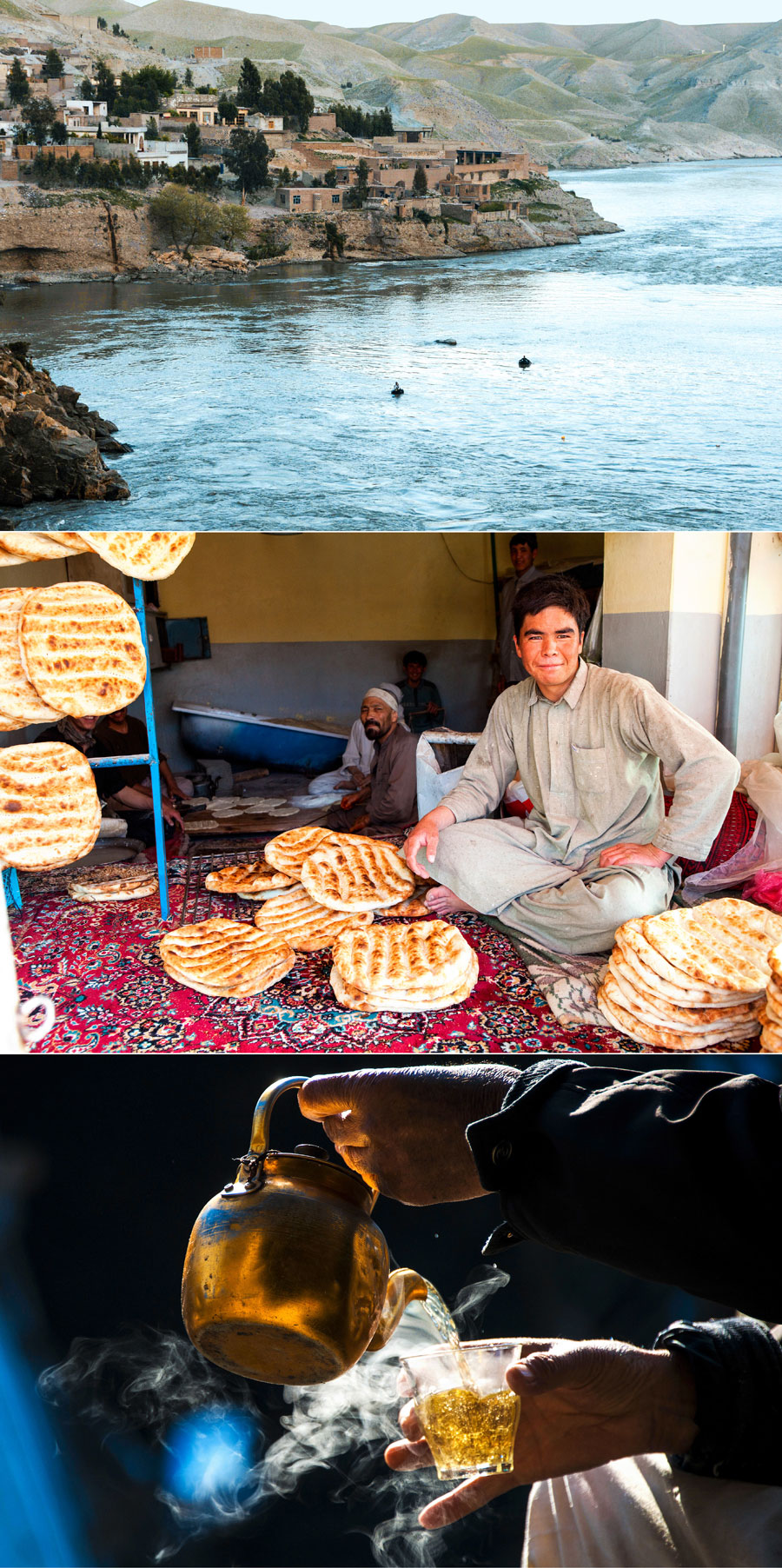 Scenes from Afghanistan: fishing rafts on the Kabul river near Jalalabad, fresh naan in a Kabul bakery, the national lubricant (from top)