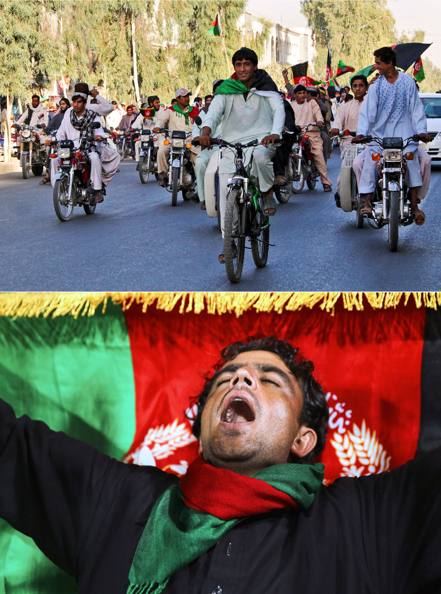 Flagbearers: Fans ride in the streets to celebrate the win over Kenya that won Afghanistan a place in the World Cup; at the Sharjah T20I against Pakistan in December 2013