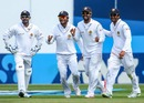 The Sri Lankans celebrate a wicket, New Zealand v Sri Lanka, 2nd Test, Wellington, 3rd day, January 5, 2015