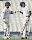 Dinesh Karthik is congratulated for his fifty by R Prasanna, Bengal v Tamil Nadu, Ranji Trophy 2014-15, Group A, Kolkata, January 5, 2015