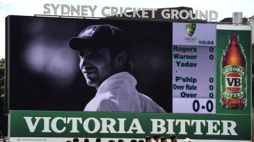 A tribute to Phillip Hughes before the start of the game