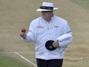 Umpire Steve Davis looks at the ball before changing it, New Zealand v Sri Lanka, 2nd Test, Wellington, 4th day, January 6, 2015